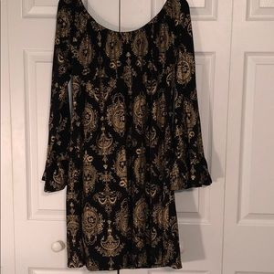 Black Dtess with Gold Designs (XL) Stretch